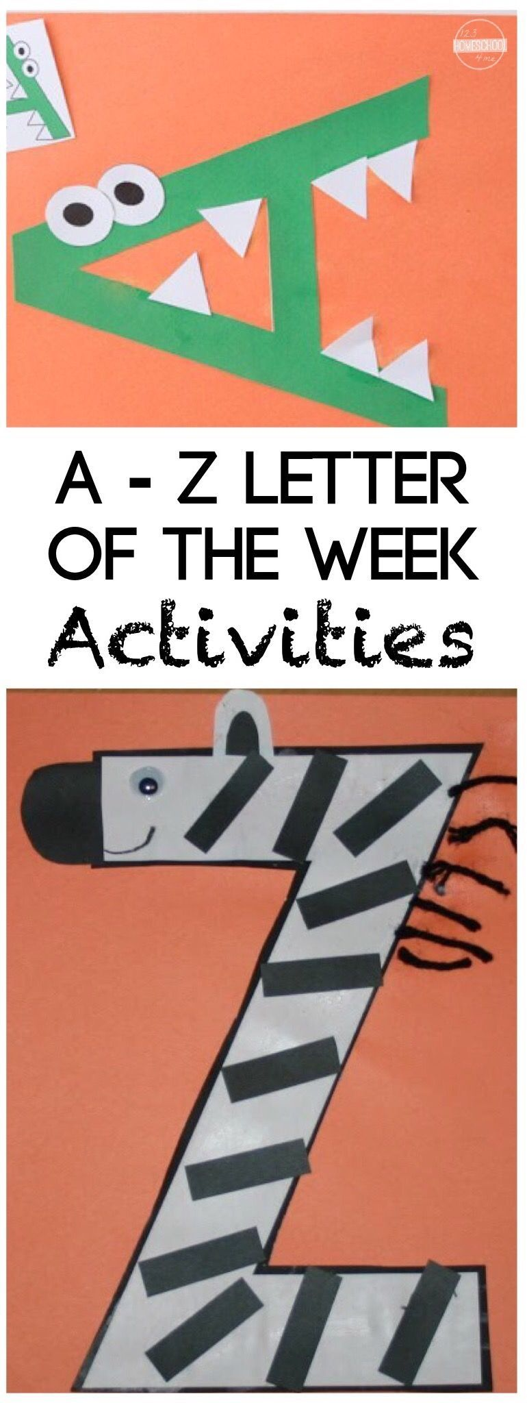 26 Alphabet Crafts You are going to love these super clever and fun-to-make 26 Alphabet Crafts!! These are great for a letter of the week theme. #preschoolers