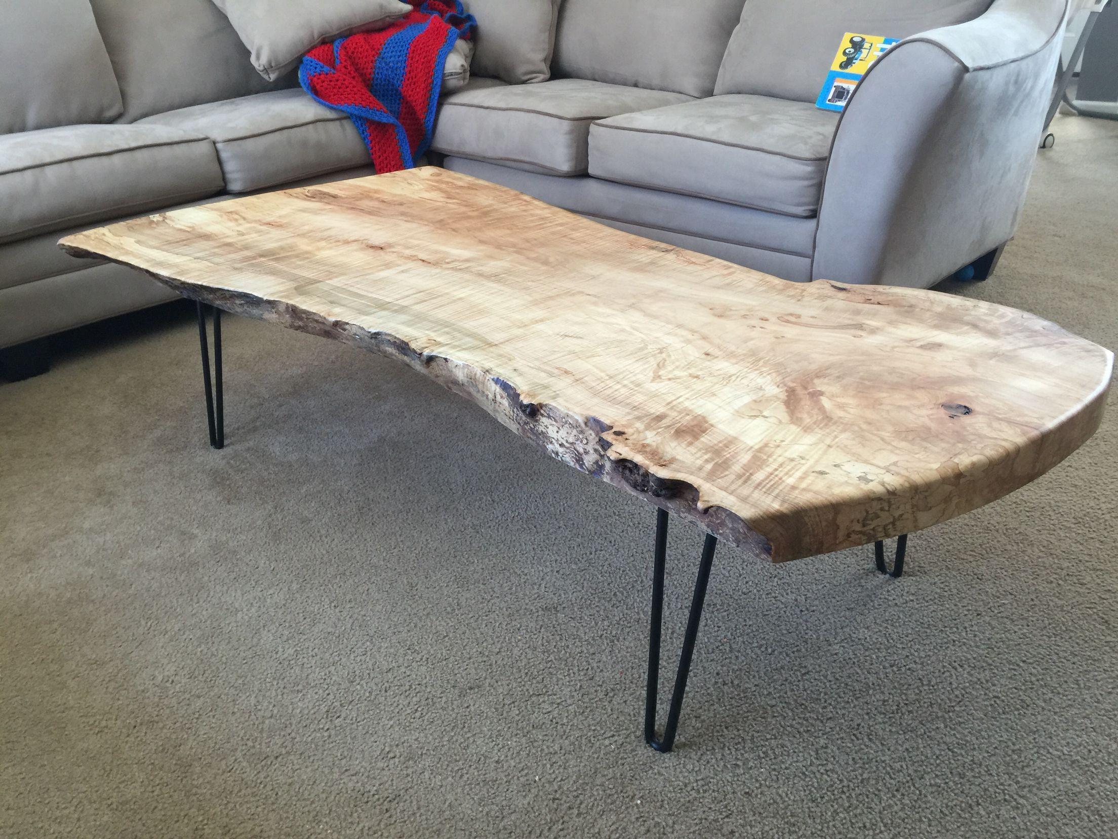 Curly Maple Coffee Table With Hair Pin Legs Coffee Table Live Edge Coffee Table Live Edge Furniture [ 1656 x 2208 Pixel ]