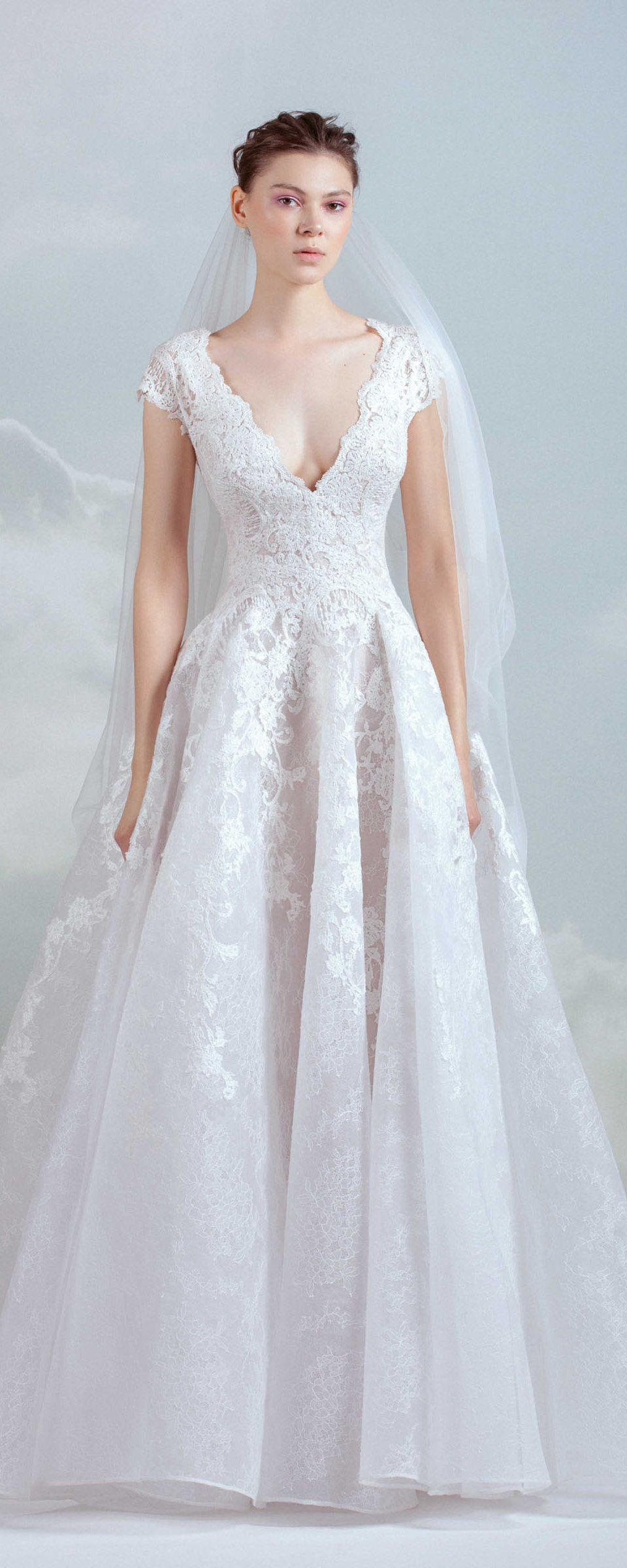 Lace wedding dress for short person january 2019 Gemy Maalouf  collection  Bridal  Wedding dress and Weddings