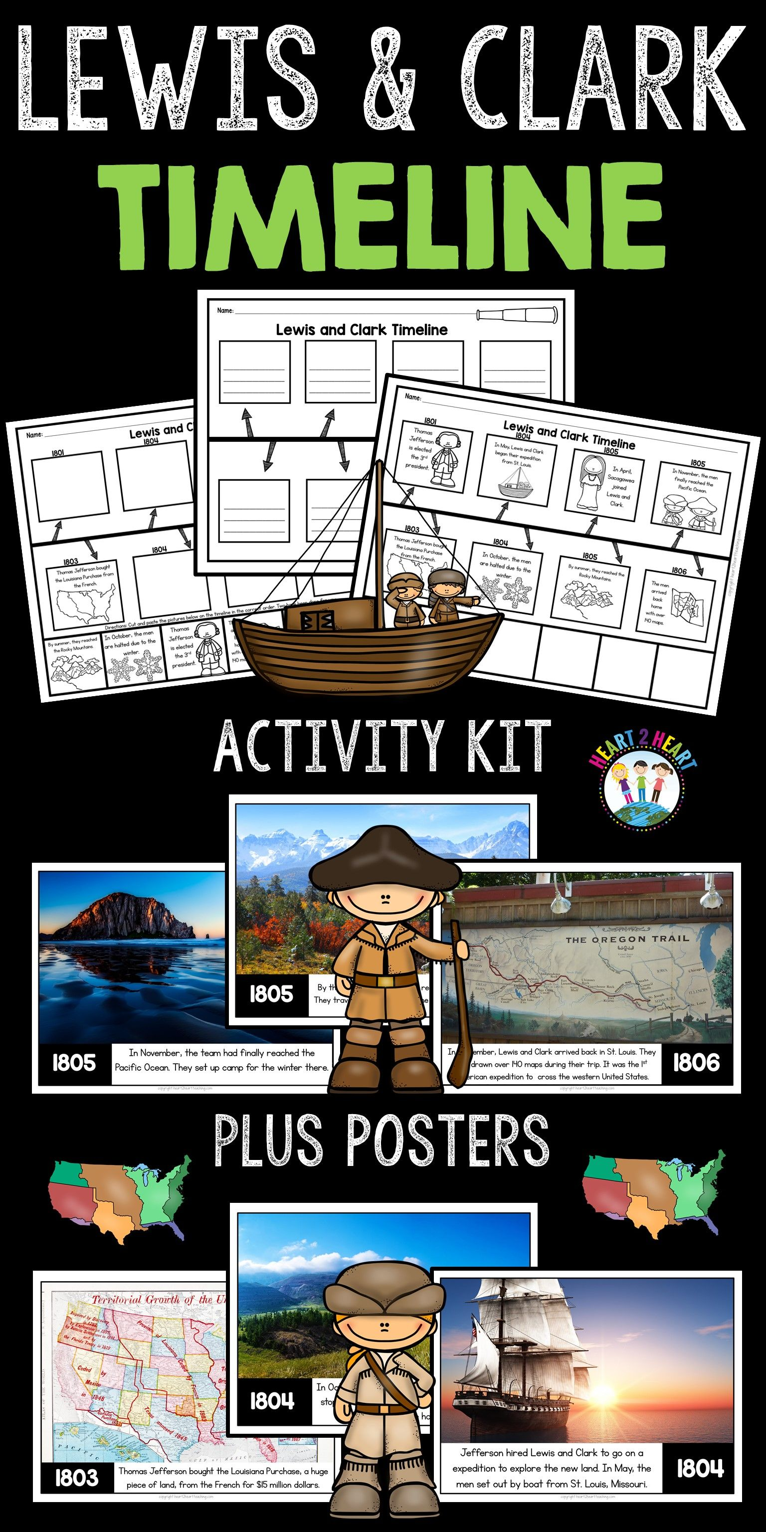 Lewis And Clark Activities Timeline Kit With Posters For