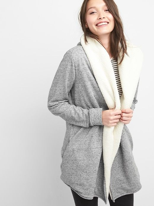 a23a1df744 Gap Womens Sherpa Open-Front Hoodie Cardigan Heather Grey in 2019 ...