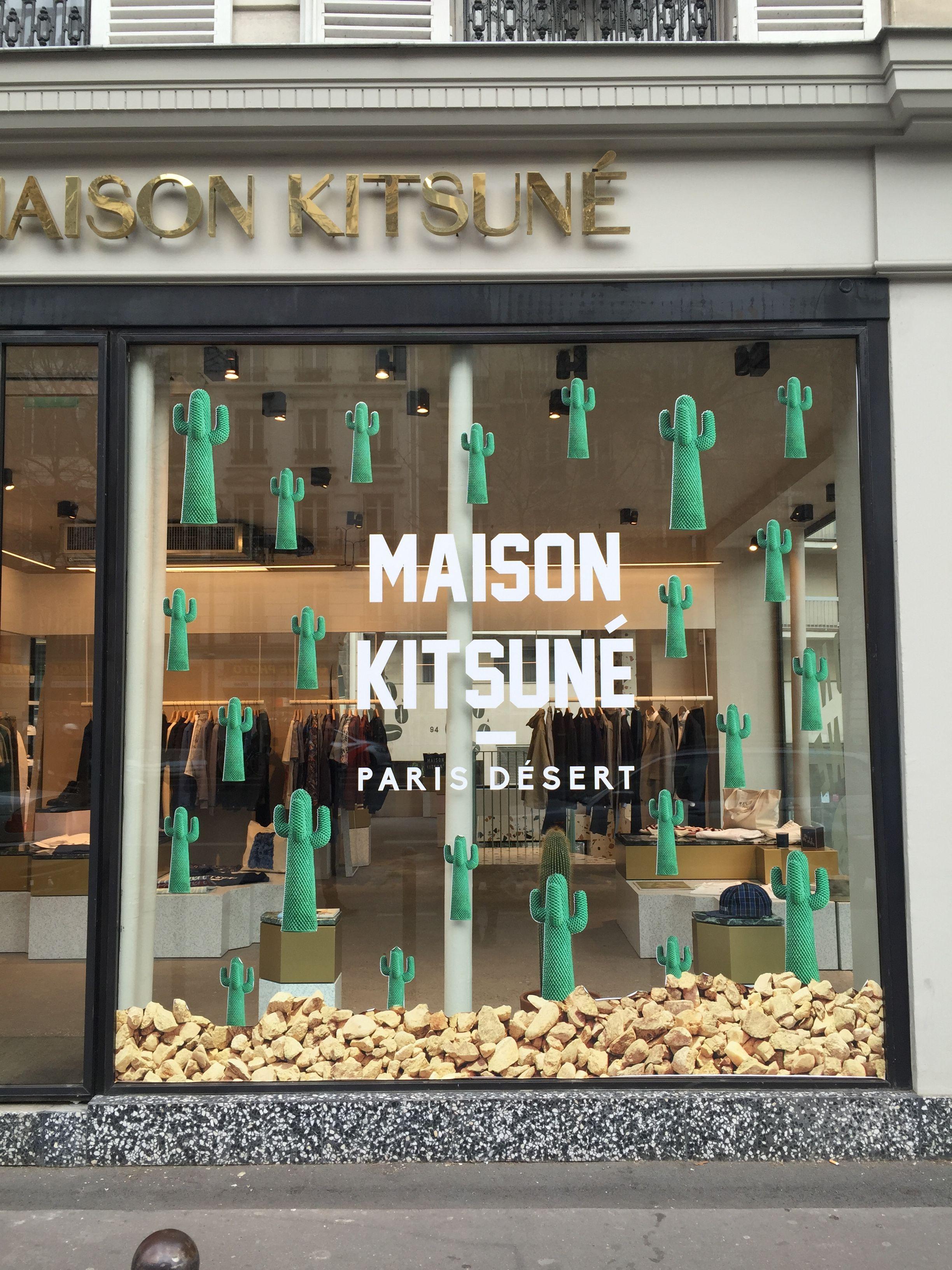 Maison Kitsun Paris Desert Window Display #Paris #Desert #Cactus #Cacti
