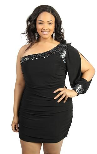 Plus Size Two Tone Sequin One Shoulder Club Dress Is The Perfect