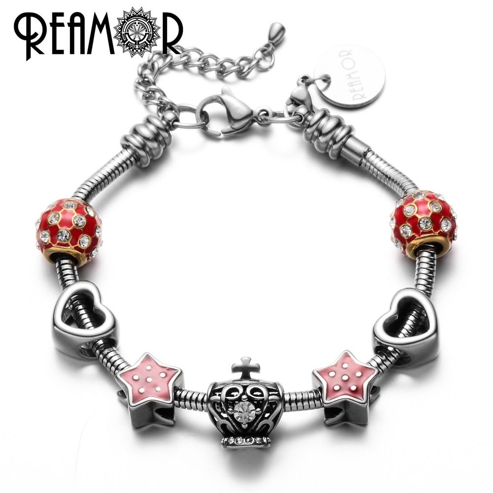 Click to buy ucuc reamor women royal crown charms bracelet with l