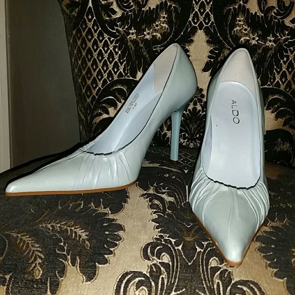 """Baby Blue Leather Pumps sz 9/39 Baby blue leather Pumps by Aldo w ruching at pointed toe, 4"""" stiletto heel, worn once from a smoke and pet free home ALDO Shoes Heels"""