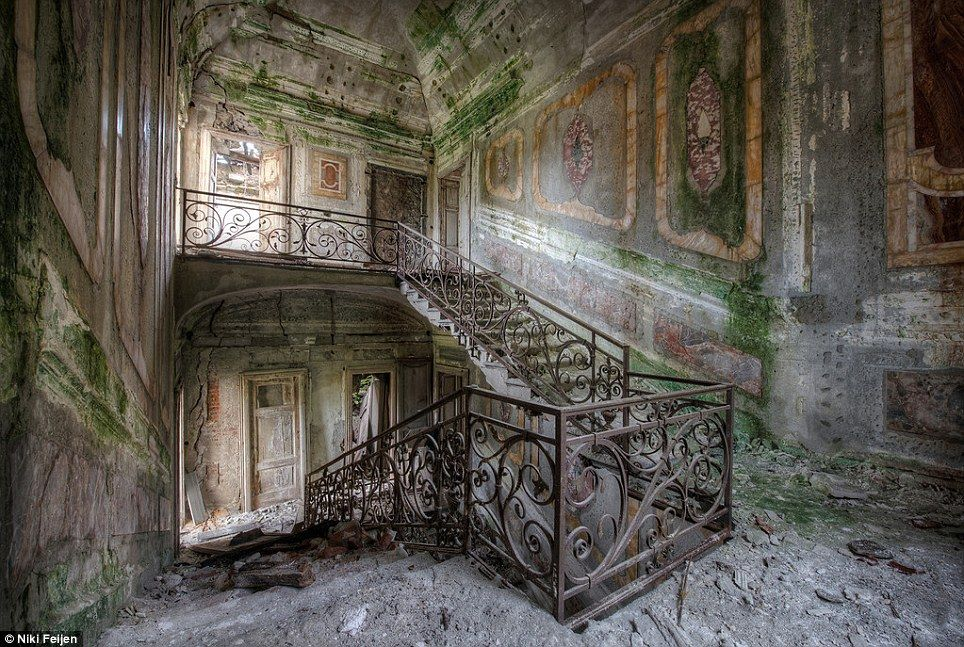 Crumbling beauty: Even though Feijen's interiors are being eaten away by time itself, much architectural and aesthetic beauty remains