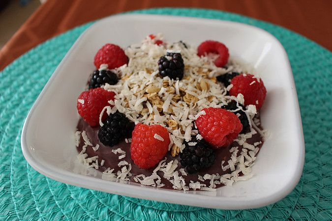 Hailing from Brazil, this yummy treat is perfect for breakfast! It has many antioxidants and helps satisfy your sweet tooth.  It's pretty easy to make and doesn't take much prep time. There are many varieties you can do when it comes to Acai Bowls, but I decided to do a berry bowl since I love berries.