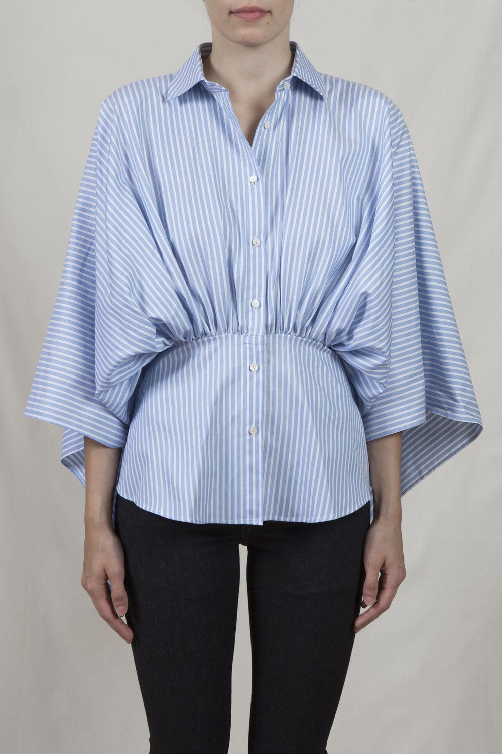 d08b76bf1e blue pencil stripe shirt with a gathered front waist and draped back 100%  cotton machine / wet wash model is 5'8
