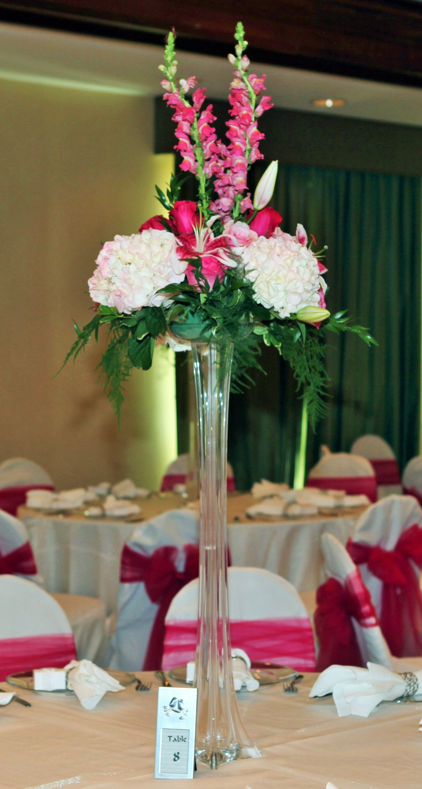Tall Glass Vase Wedding Centerpiece with White and Pink Floral