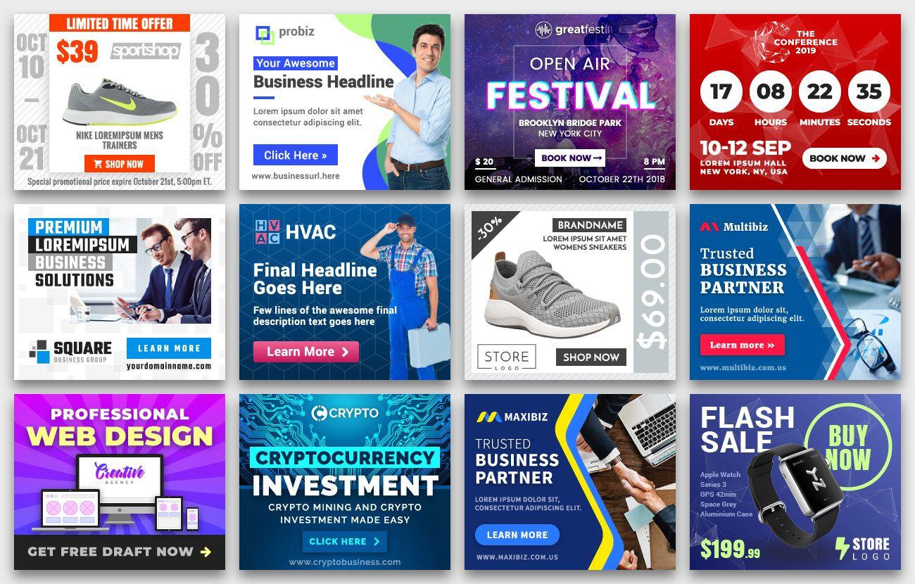Yn Bundle Most Advanced Html5 Banner Bundle Made With Google Web Designer In 2020 Google Web Designer Animated Banner Ads Web Design