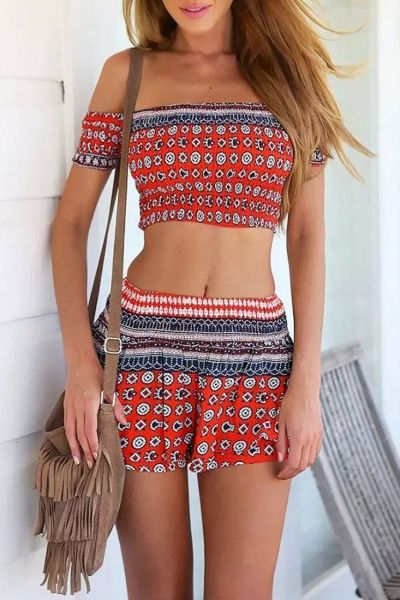bd4c6827b4d Smocked Crop Top Mini Skirt Matching Set - OASAP.com | Cute clothes ...