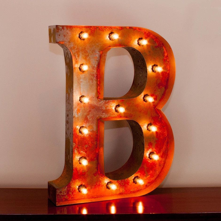 "24 Inch Metal Letters 24"" Letter B Lighted Vintage Marquee Letters With Screwon Sockets"
