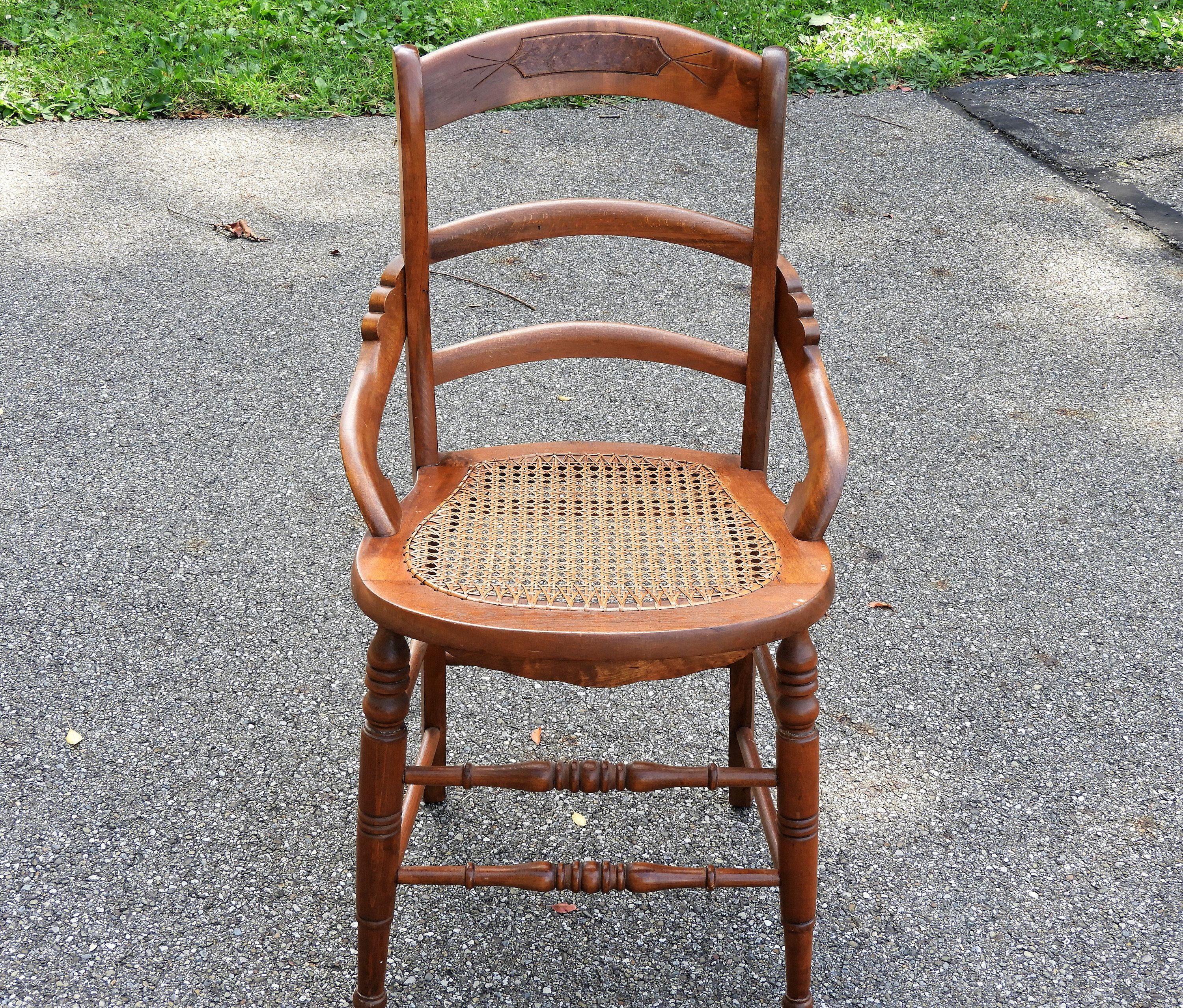 Antique Wooden Chair Burl Wood Inset Woven Cane Mahogany Etsy Antique Wooden Chairs Wooden Chair Burled Wood