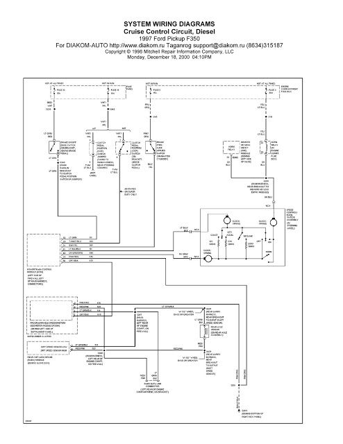 1997 Ford Pickup F350 Cruise Control Circuit System Wiring Diagram Ford Pickup Cruise Control F350