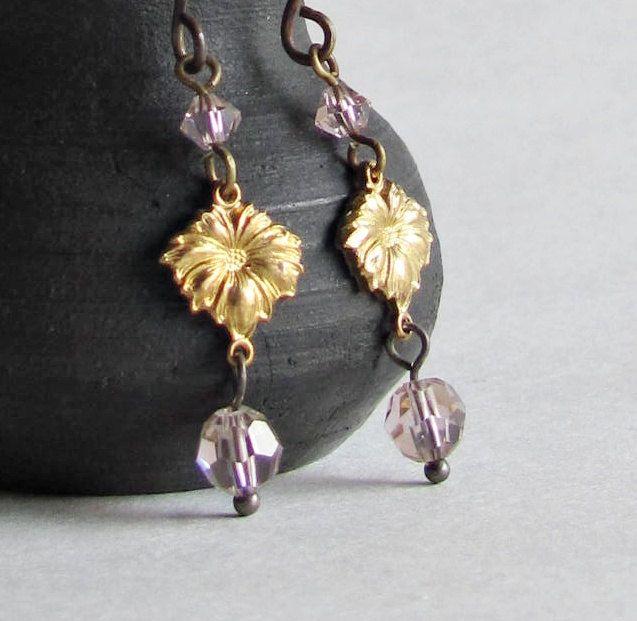 Floral Brass Earrings - Antique Rose Crystals - Vintage Brass.