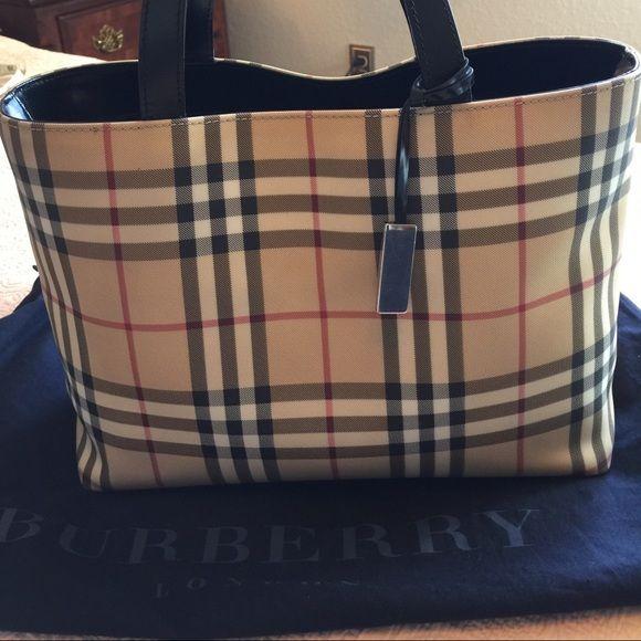 Authentic Vintage Burberry Nova Check Medium Tote Metallic Bag Medium Tote Burberry Bag