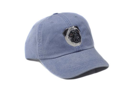 b02d82a48 Pug embroidered hat baseball cap dog lover gift pet by 1barkavenue ...