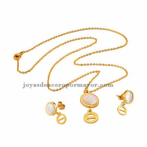 collar de moda con arete en oro dorado en acero inoxidable para mujer -SSNEG26817