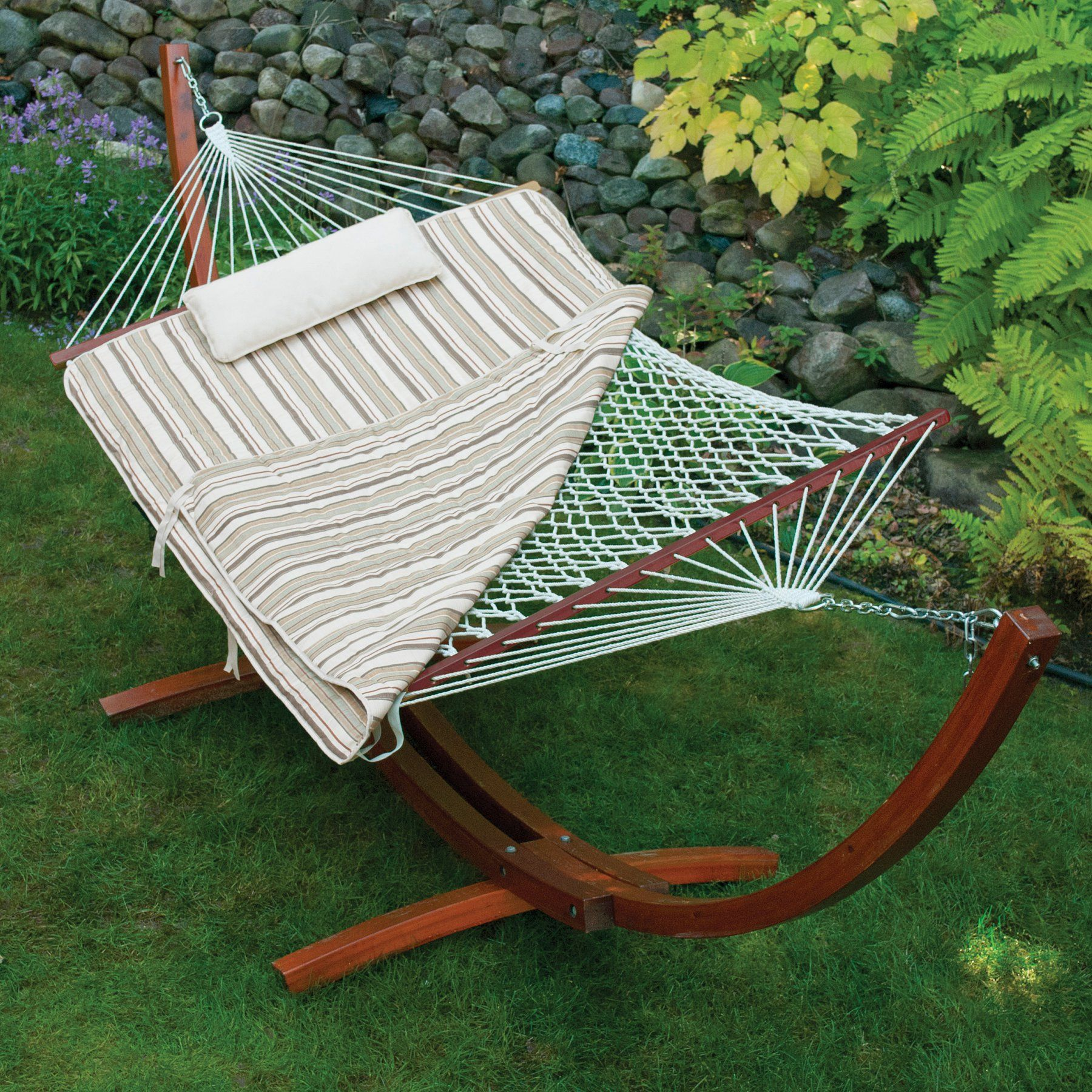 Island bay ft cotton rope hammock with wood stand pillow and
