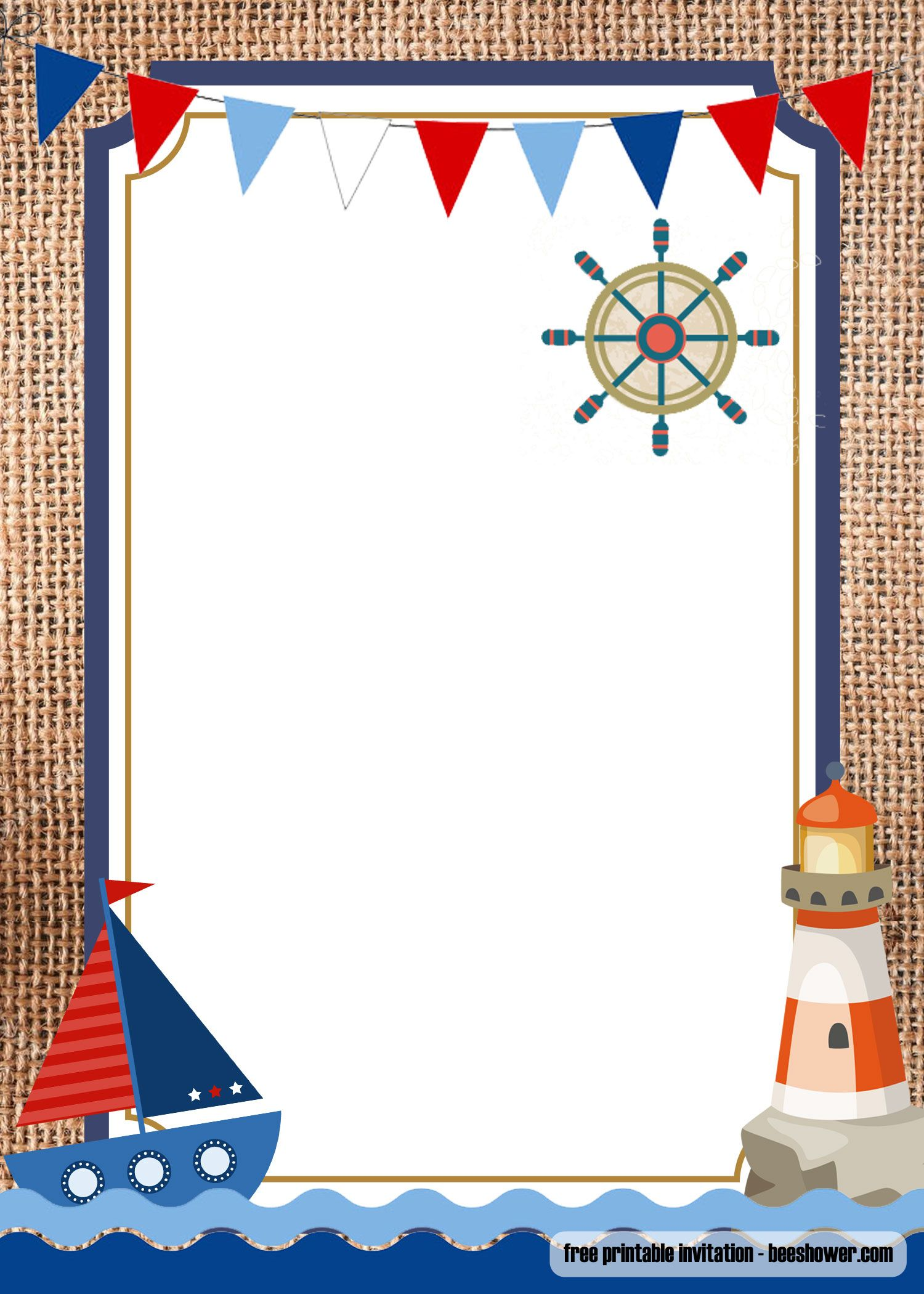 FREE Nautical Theme Baby Shower Invitations Templates  Nautical