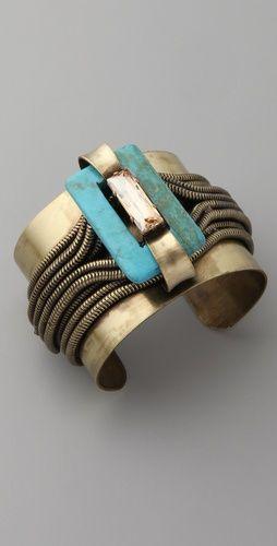 www.cewax.fr aime ce Bracelet style ethnique afro tendance tribale multi-rang or bronze et turquoise