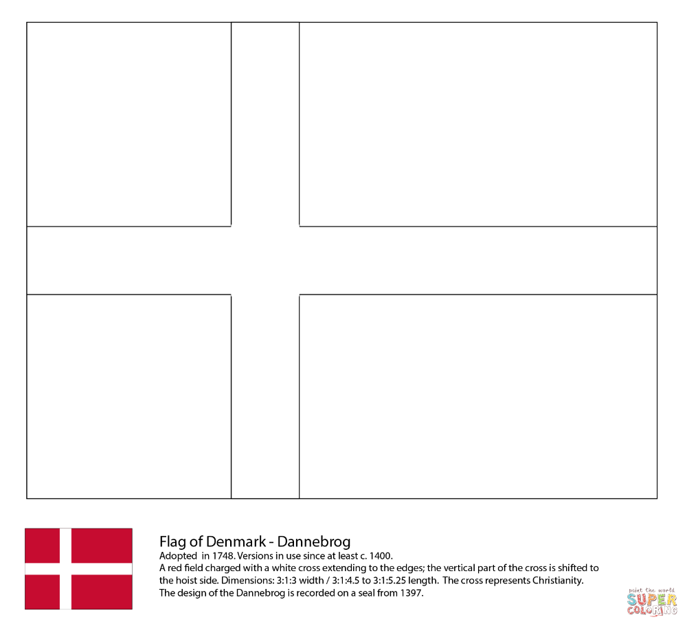 Flag Of Denmark Coloring Page Free Printable Coloring Pages Denmark Flag Flag Template Flag Coloring Pages