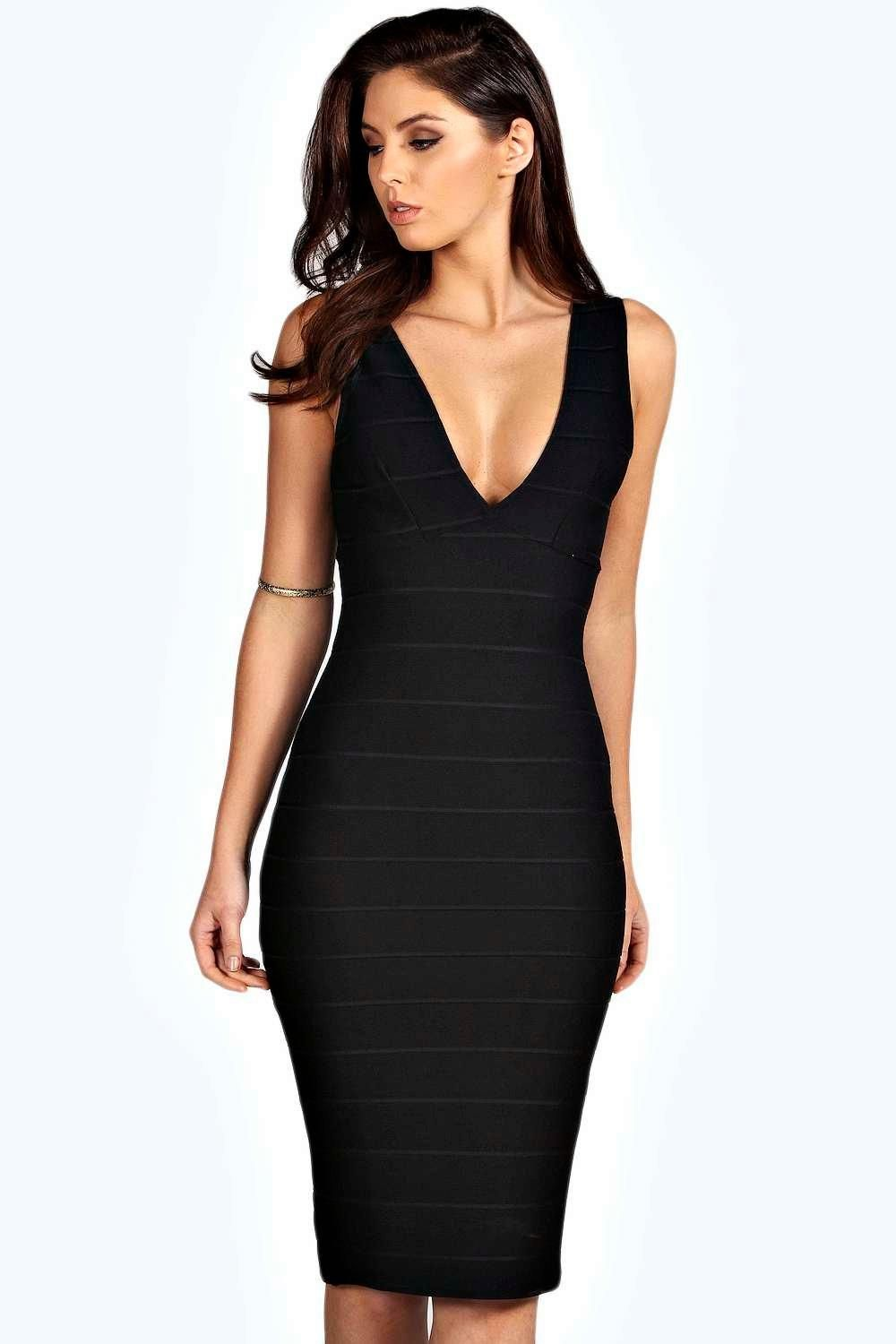 ced6d69fca boohoo plunge neck bandage bodycon dress « Bella Forte Glass Studio ...
