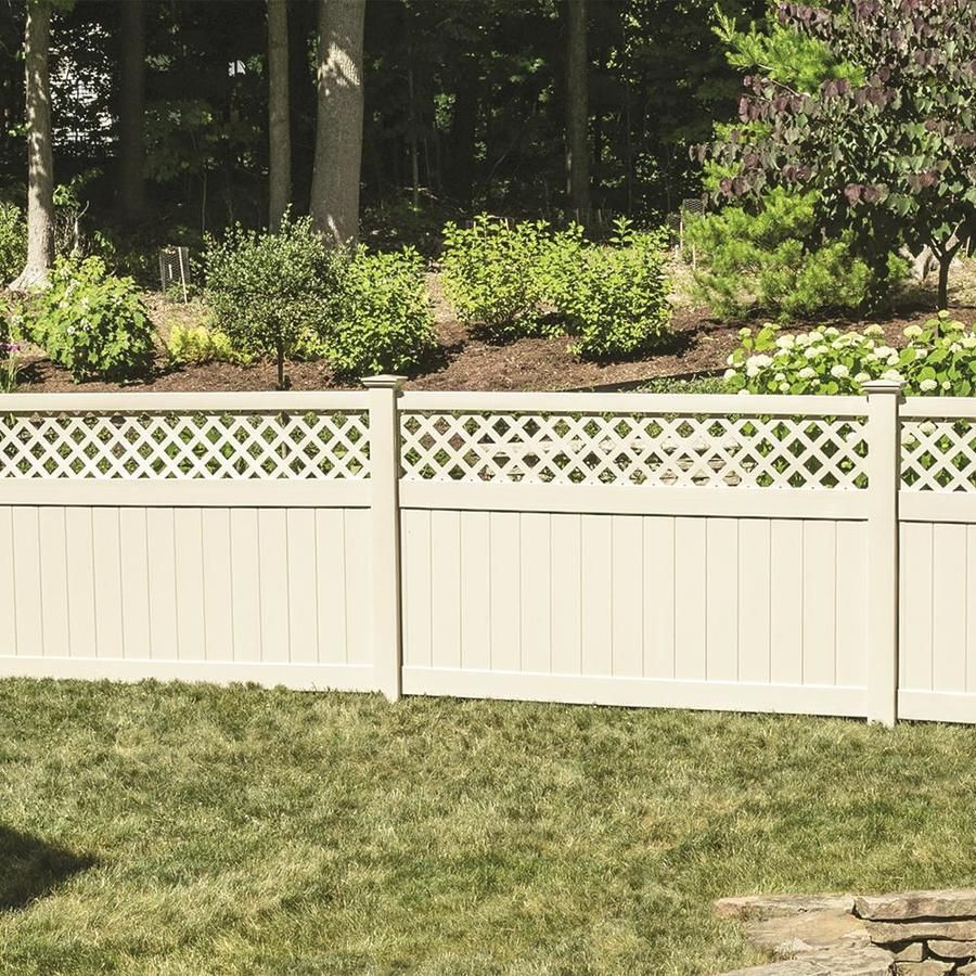 Freedom Actual 4 75 Ft X 7 84 Ft Ready To Assemble Conway Sand Vinyl Lattice Top Vinyl Fence Panel At In 2020 Vinyl Fence Panels Fence With Lattice Top Vinyl Fence