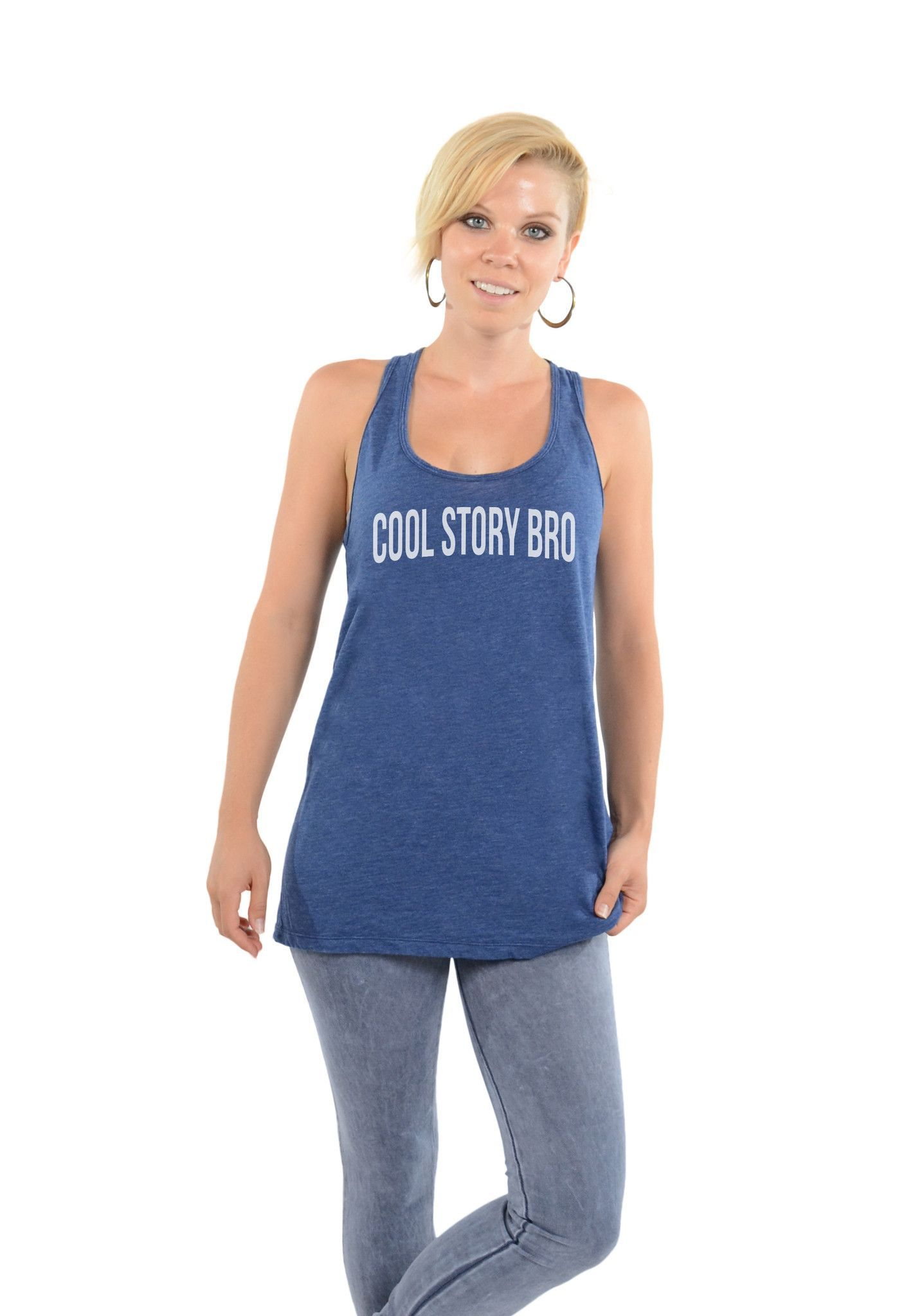 1774c10b4547b Cool Story Bro - You re about as interesting as a wet carrot -- Oversized Racerback  Tank Cobalt  coolstorybro  coolstory  sassy  printedtees  graphictees