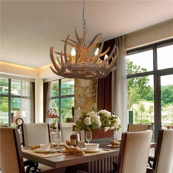 Antler featured chandelier with 6 lights 250 liked on polyvore in stockrustic cascade chandelier antler chandelier antler lighting with 6 lights dining room living lighting room bedroom ceiling lightslove of nature mozeypictures Image collections