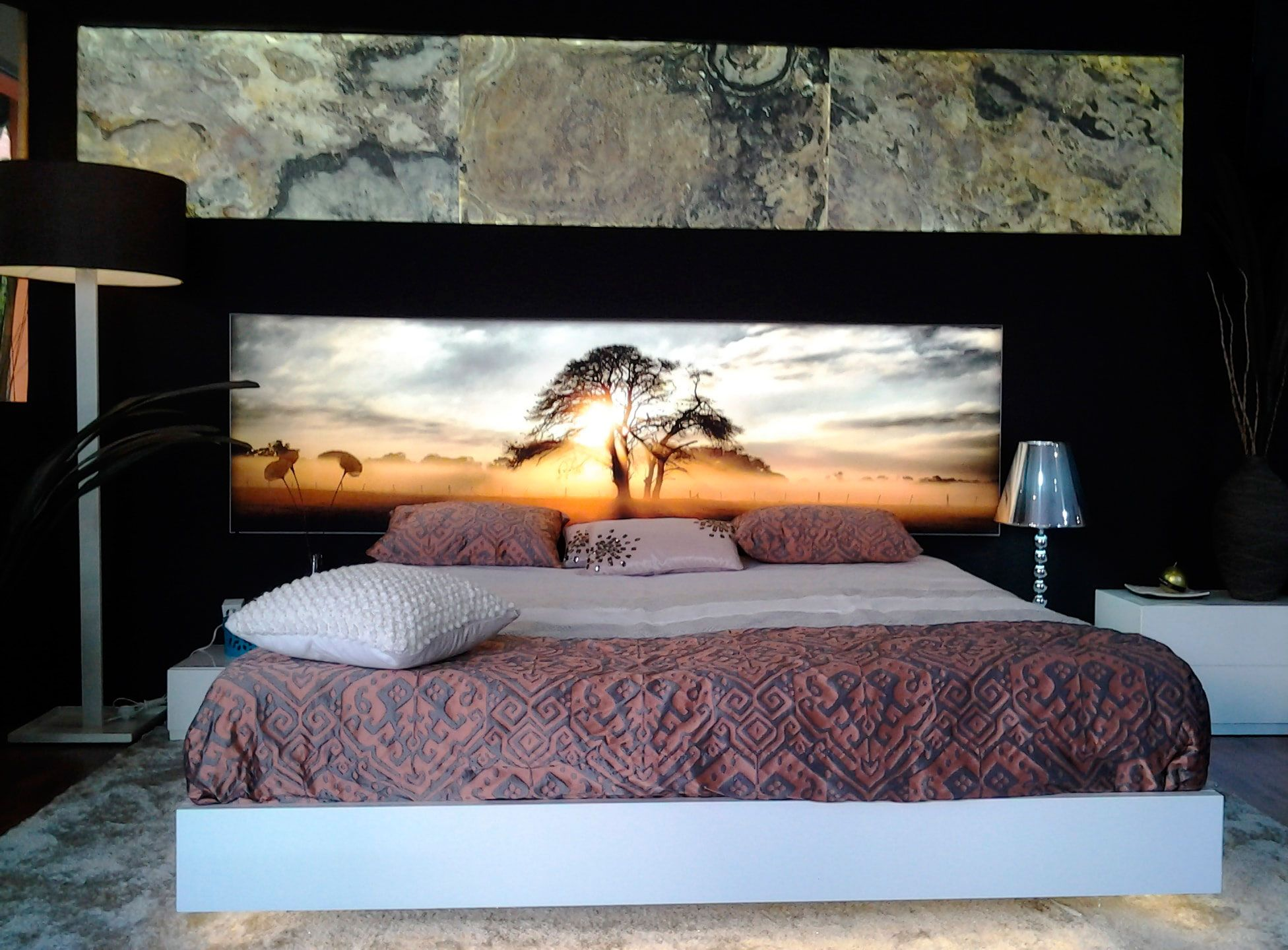 50 ideas de cabeceros con luz retroiluminados luz cama - Ideas cabecero cama ...