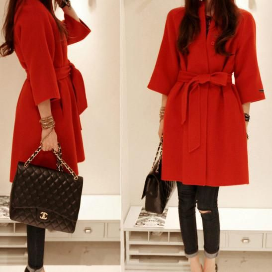 3/4 Sleeves Belt Solid Slim Stand Collar Long Coat - Meet Yours Fashion - 2