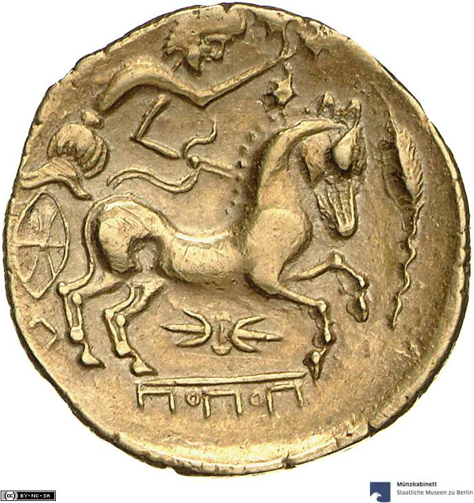 Gold Celtic coin (2nd c. BC) a chariot (represented by a