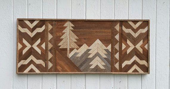 Reciclado de madera de la pared arte - decoración - montañas - doble