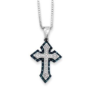 Sterling silver 15 carat white blue diamond cross pendant necklace sterling silver 15 carat white blue diamond cross pendant necklace available exclusively at gemologica mozeypictures Choice Image