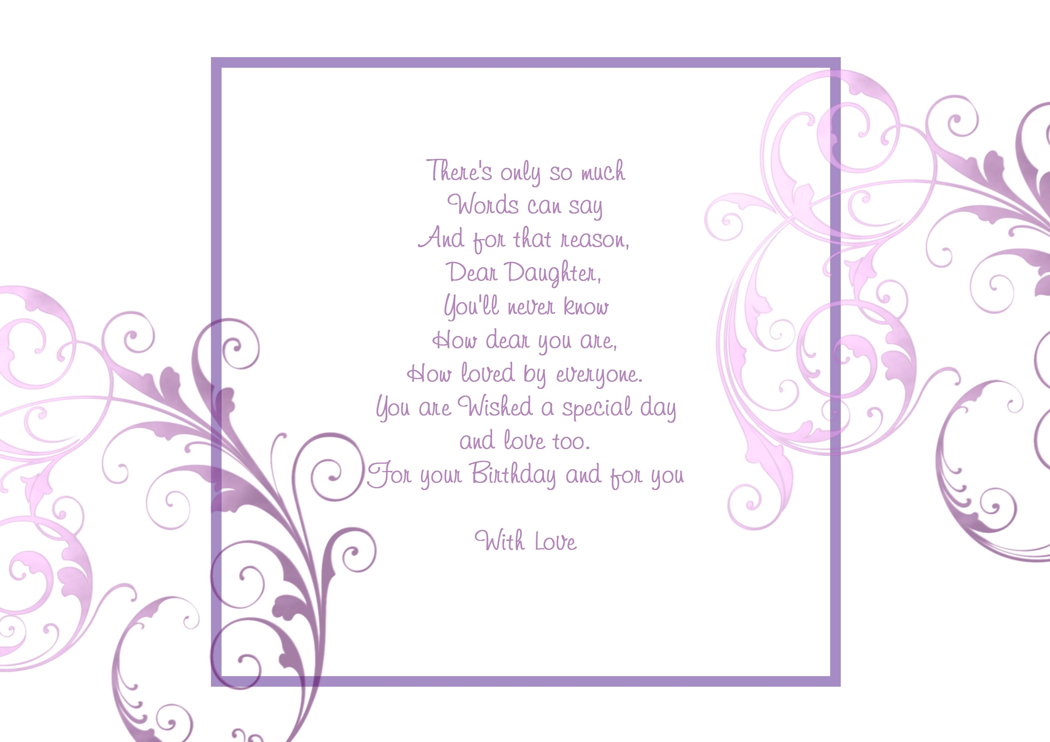 Birthday - Daughter  Birthday verses for cards, Cards handmade