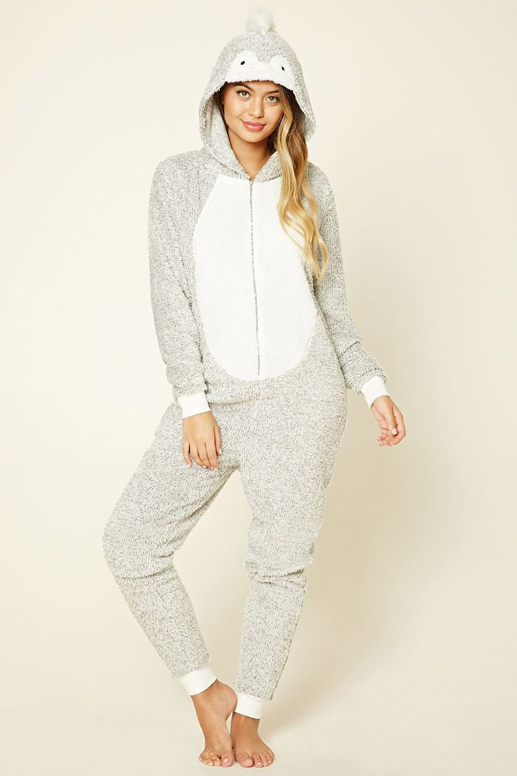 45febaf21700 A plush PJ jumpsuit featuring a hood with penguin embroidery and faux fur  trim