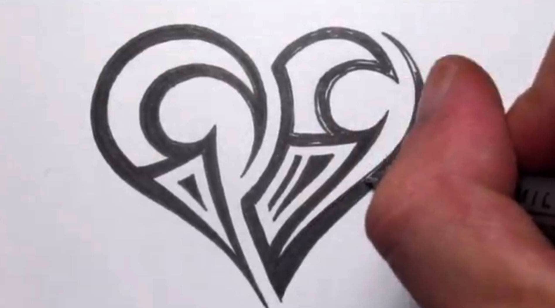 Drawing A Simple Tribal Maori Heart Tattoo Design Kids Initial Tattoos Heart Tattoo Designs Tribal Heart Tattoos