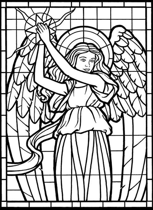 Adult Coloring Page from Amazing Angels Stained Glass Coloring Book ...
