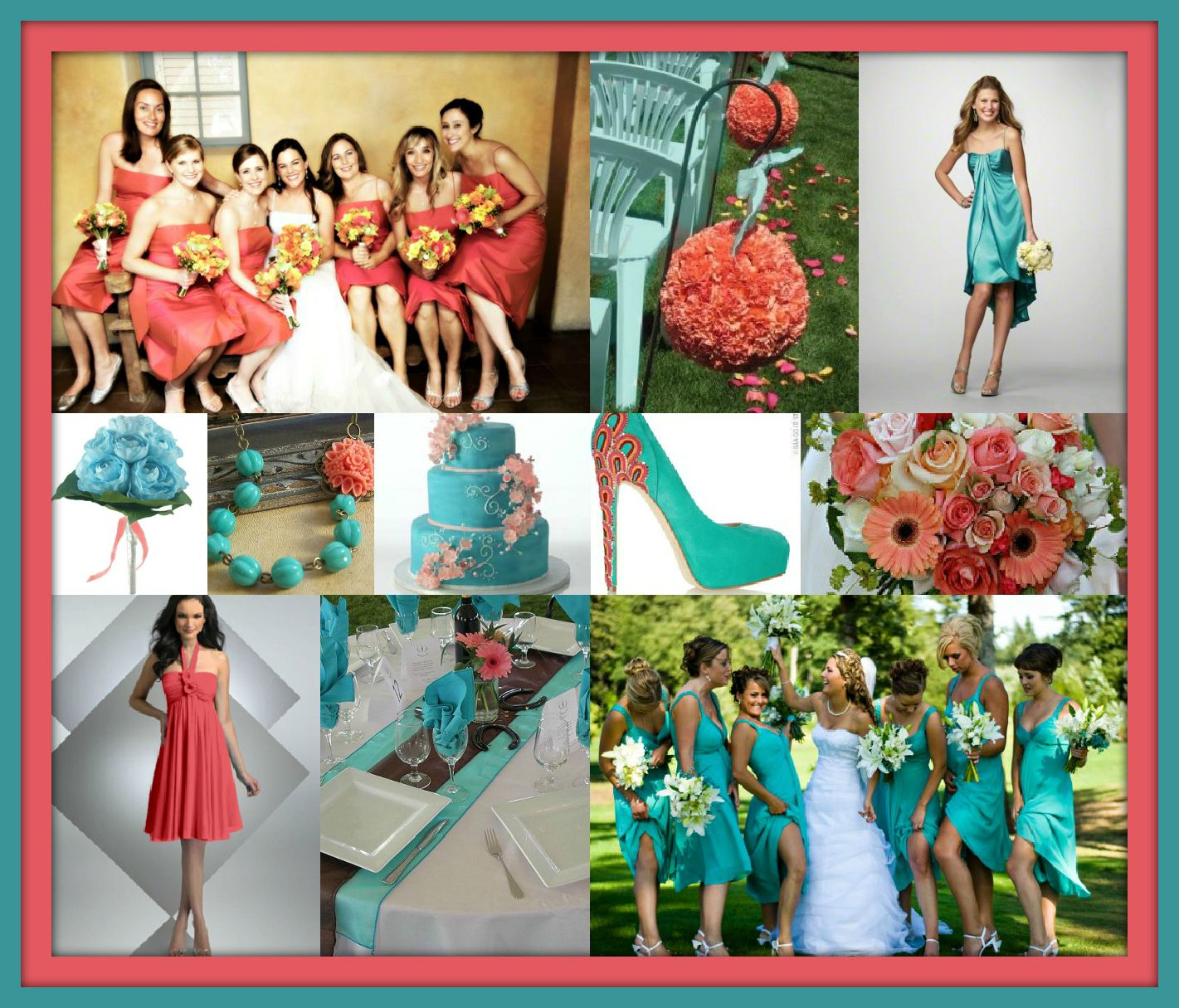 Turquoise And Coral Wedding Theme... Can't Get Any Better