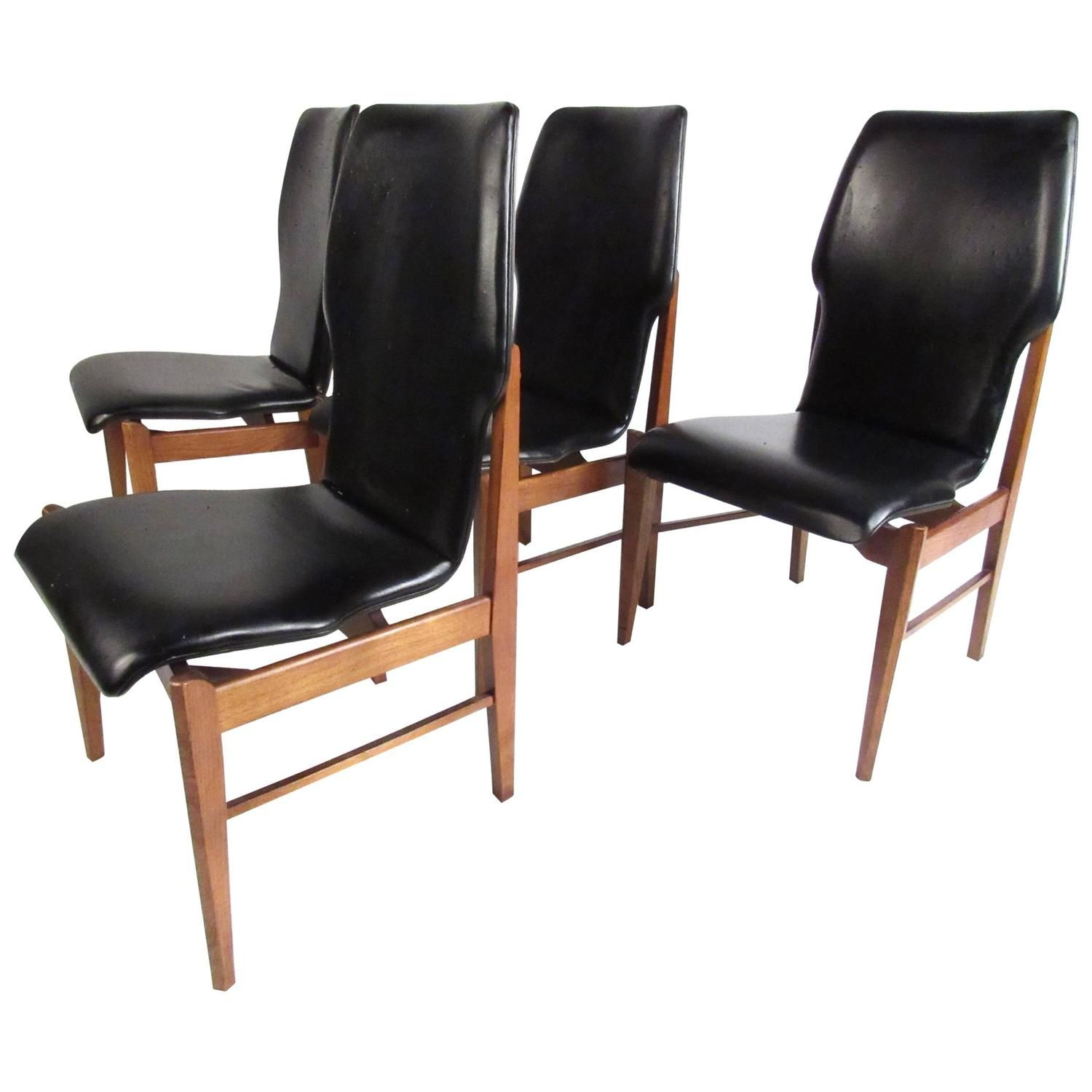 Mid Century Set Of High Back Dining Chairs Decadent Decor High