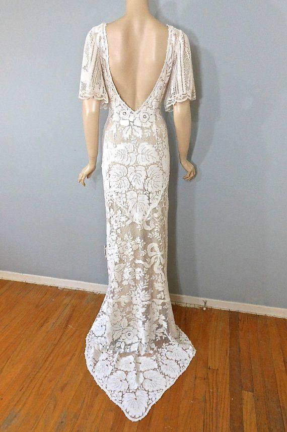 Boho WEDDING Dress Empire Waist Crochet LACE by MuseClothing ...