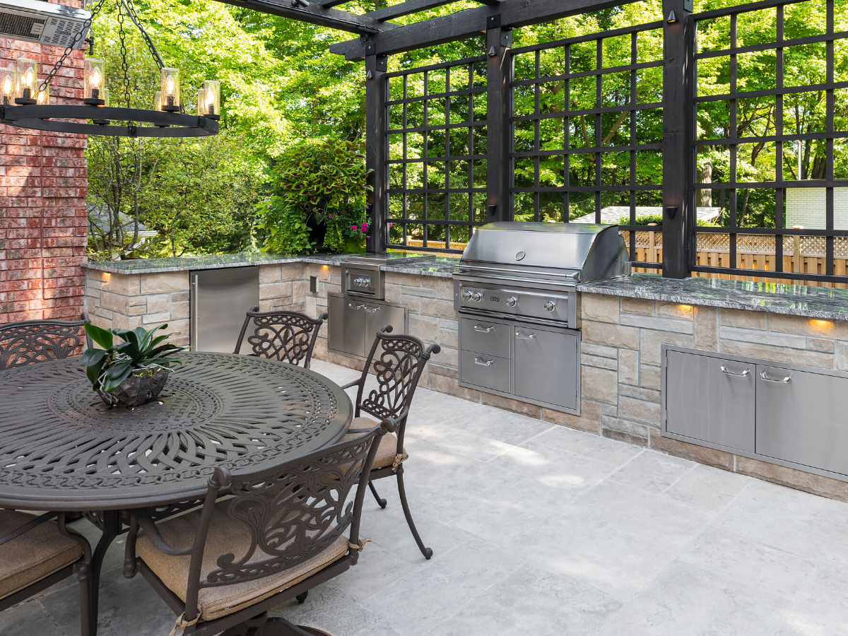 Stylish Covered Outdoor Kitchen And Patio Spaces That Provide Shade Cover And Eleganc In 2020 Outdoor Kitchen Island Covered Outdoor Kitchens Outdoor Cooking Spaces