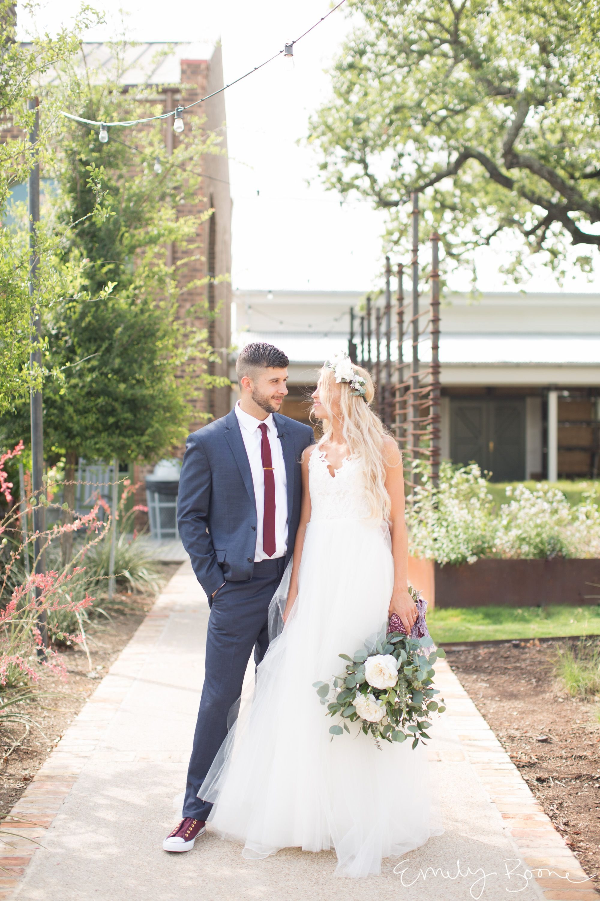 Bride And Groom Portraits Bhldn Dress Sunny Sunday Wedding At Calvary Court College Station College Station Wedding Texas Wedding Photographer Bhldn Dress