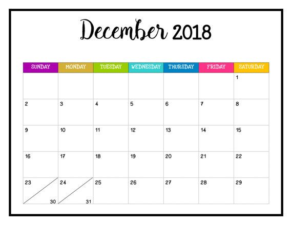 2018 Printable Calendar 2018 Wall Calendar Pages Bright And Mambi
