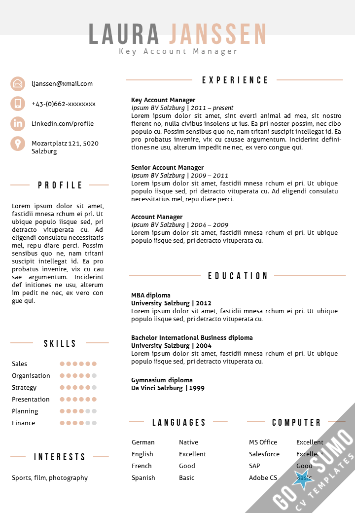 Resume template in MS Word. Including matching cover letter ...
