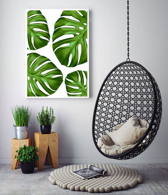 Tropical Home Decor Leaves Art Leaf Print Monstera Printable By Little Ink Empire Etsy