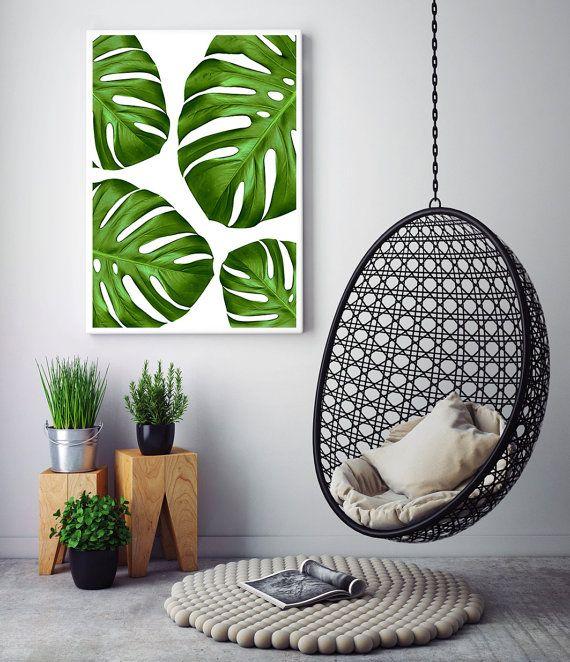 Botanical Print Tropical Monstera Leaf Art Poster Wall Home Decor