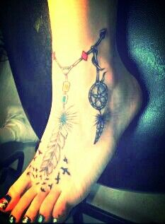 Dream Catcher Foot Tattoos Feathers birds and a dream catcher foot tattoo One of a kind 22