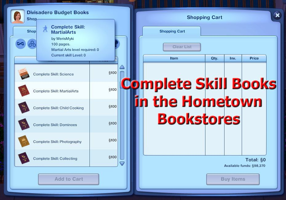 Mod The Sims Non Default Complete Skill Books Revised Skills Budget Book Books